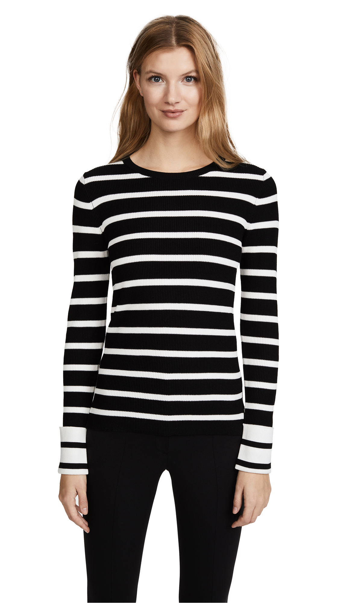 Theory Striped Crew Sweater - Black/Eggshell