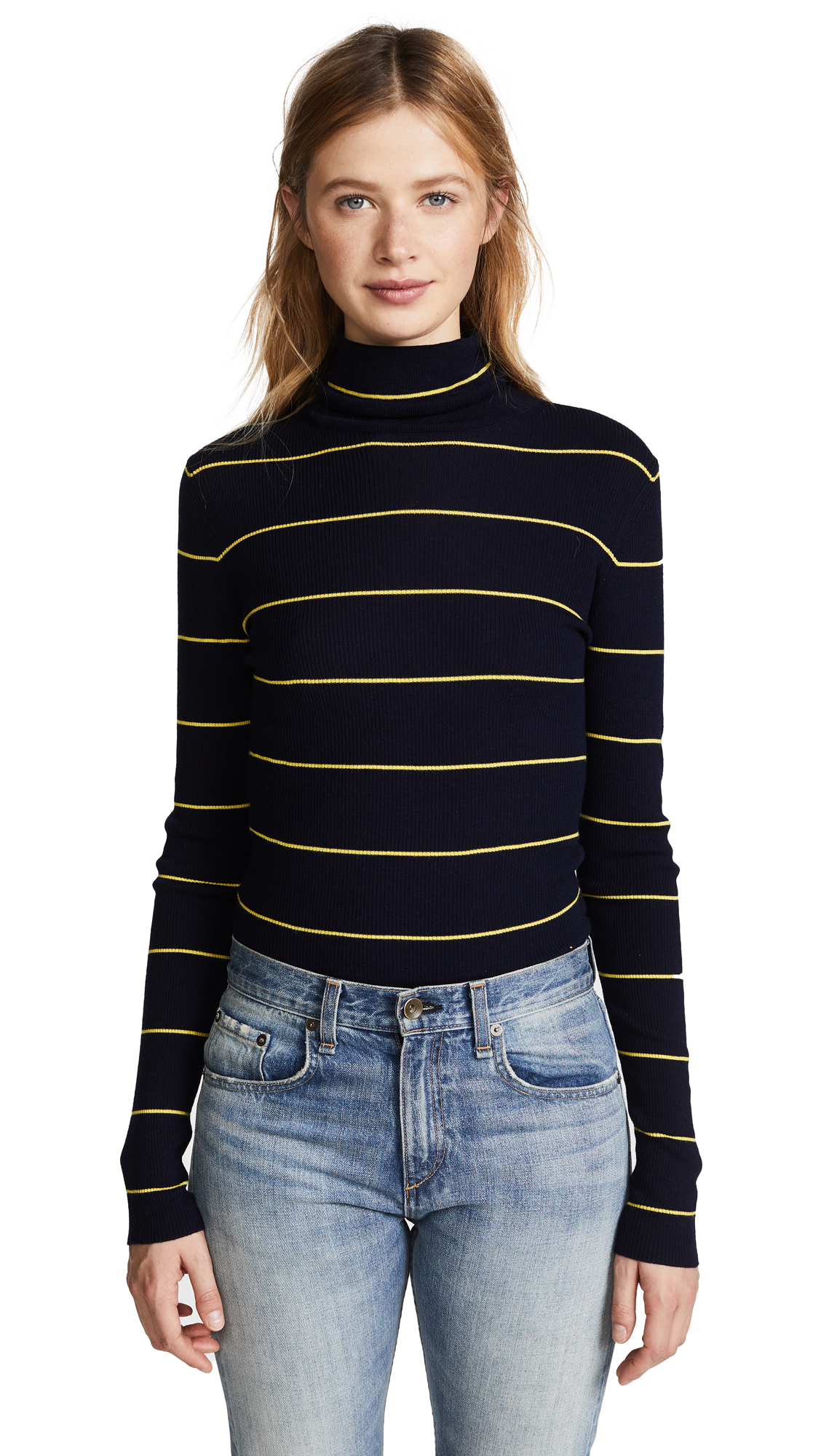 Theory Striped Long Sleeve Crop Turtleneck - Deep Navy/Bright Yellow