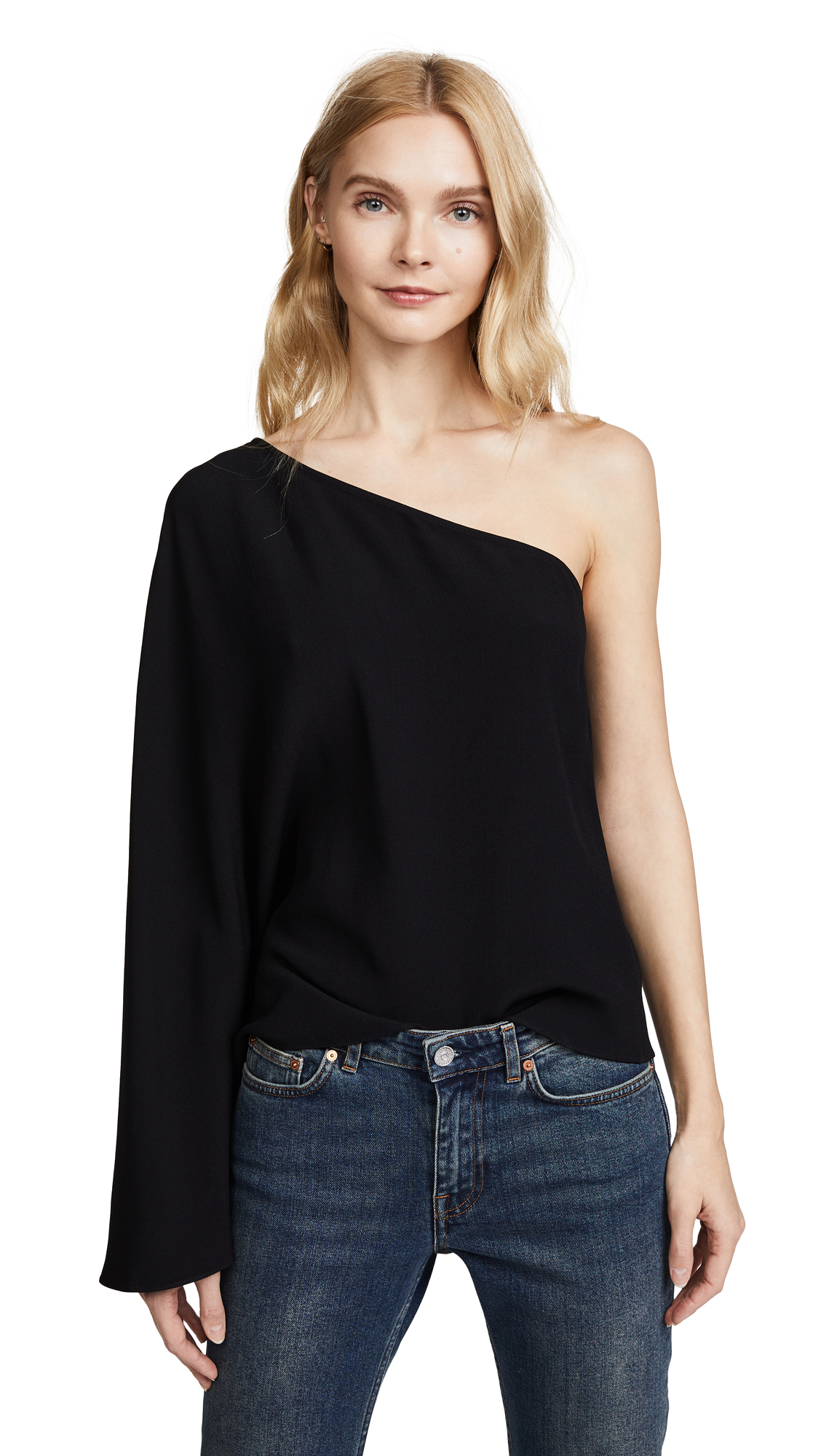 Theory Ruza One Shoulder Top In Black