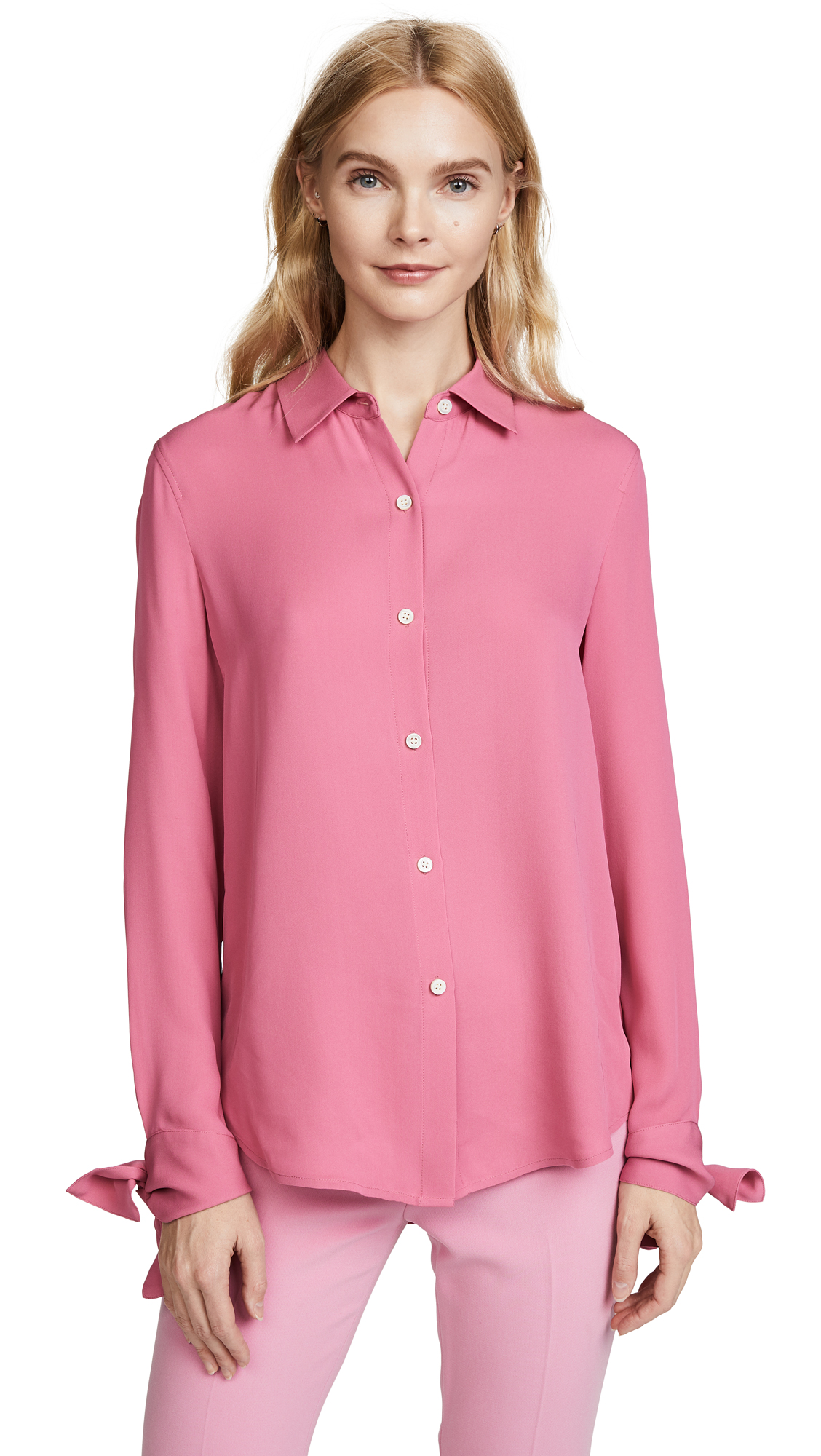 Theory Tie Cuff Shirt - Orchid Pink