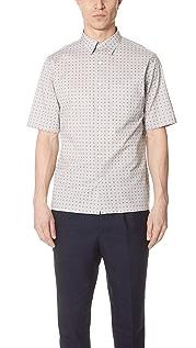 Theory Bruner Dot Print Short Sleeve Shirt