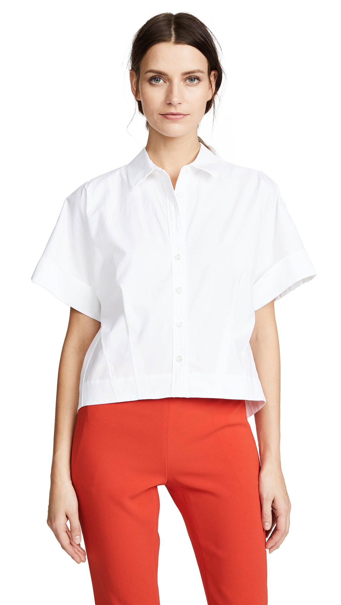 Theory Cropped Button Down Shirt - White