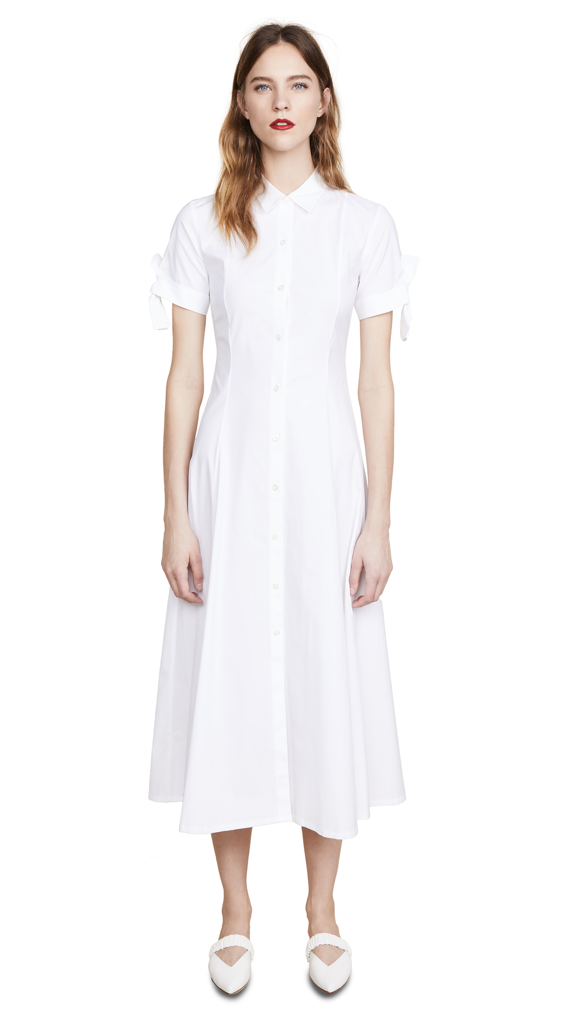 Theory Tie Sleeve Shirtdress - White