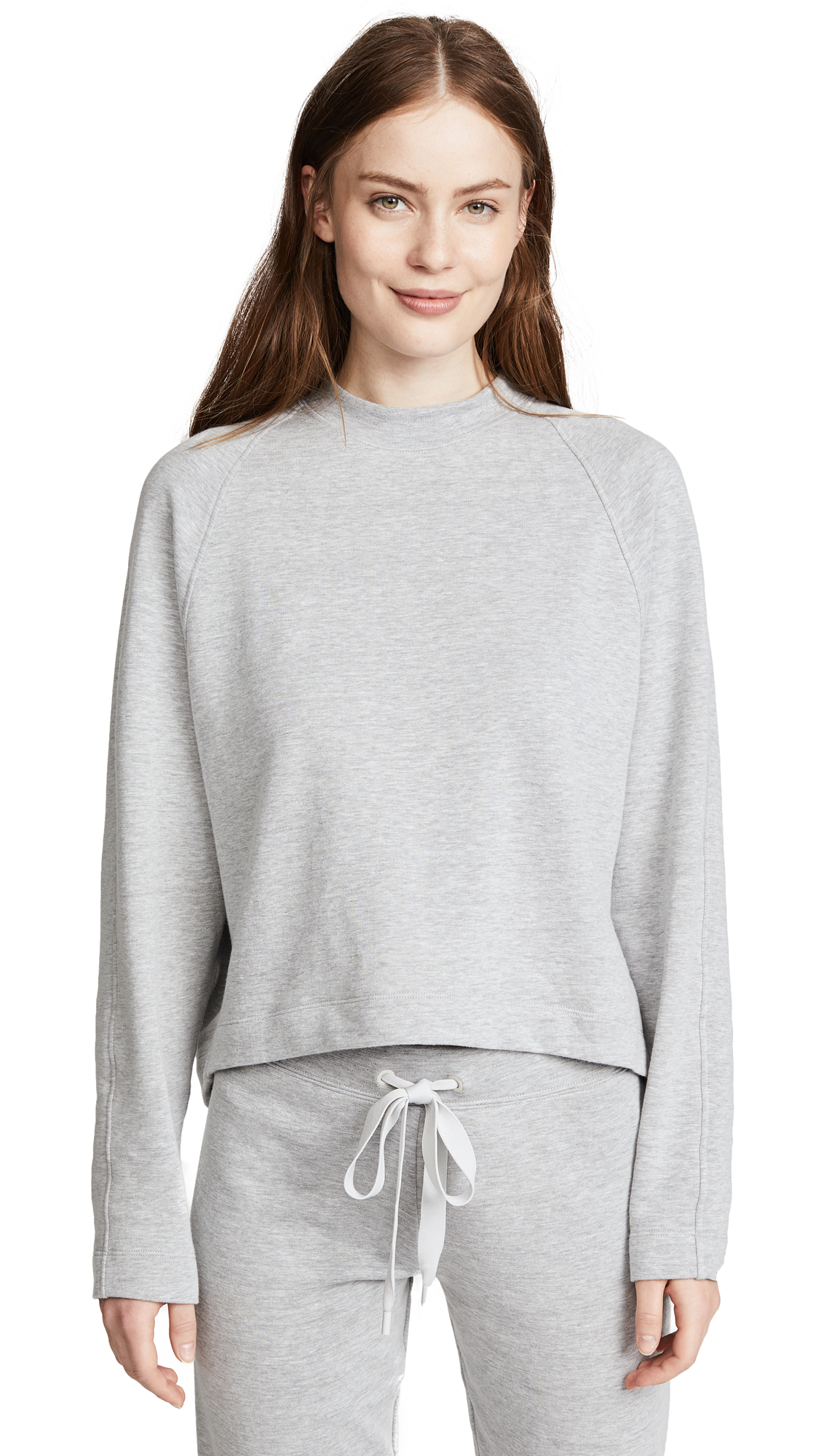 Theory Raglan Crew Pullover In Melange Grey