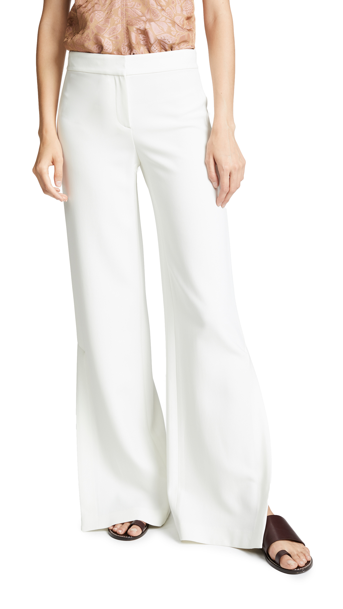 Theory High Slit Pants In Ivory