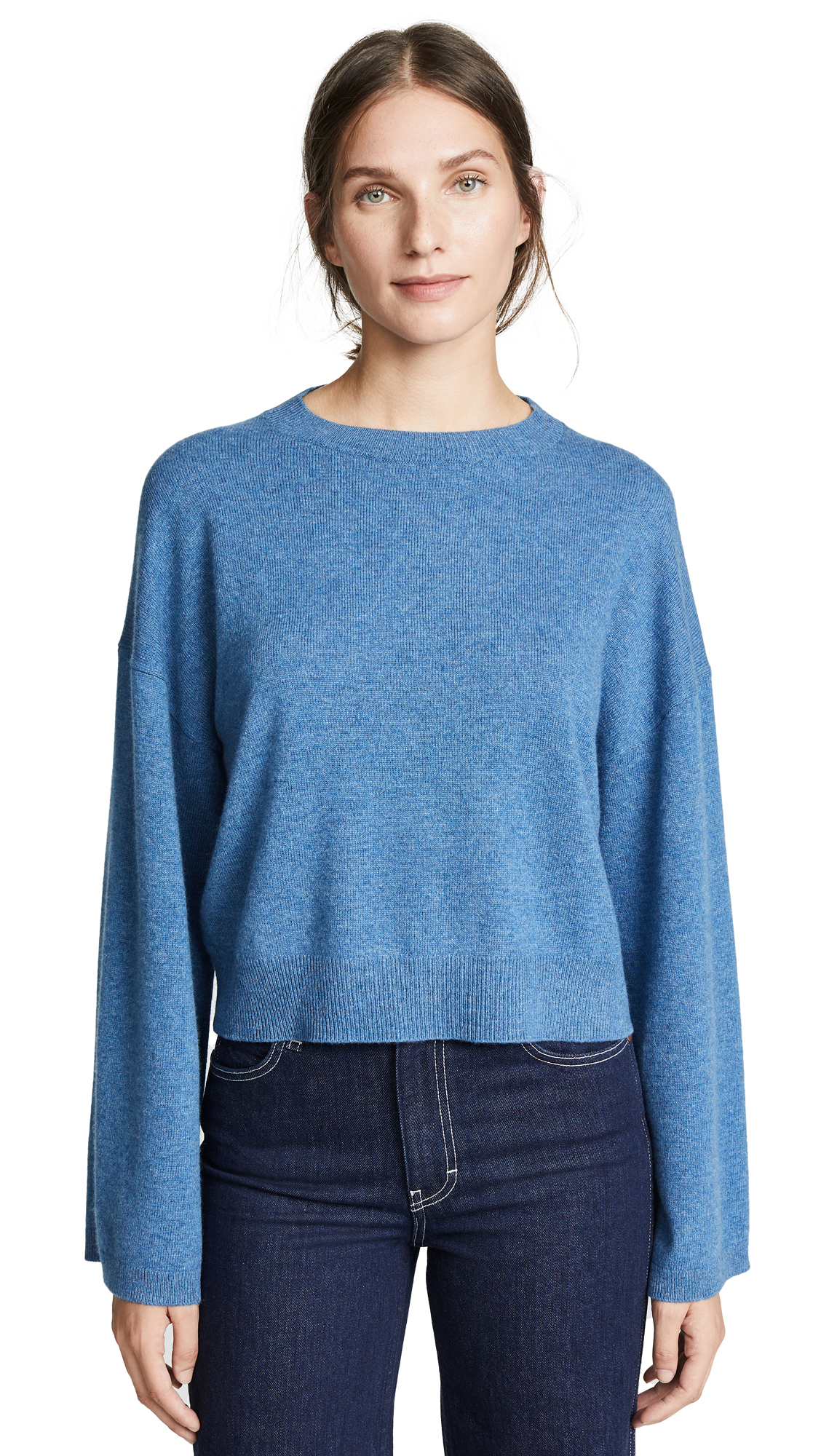 Theory Wide Sleeve Cashmere Pull Over In Heather Denim