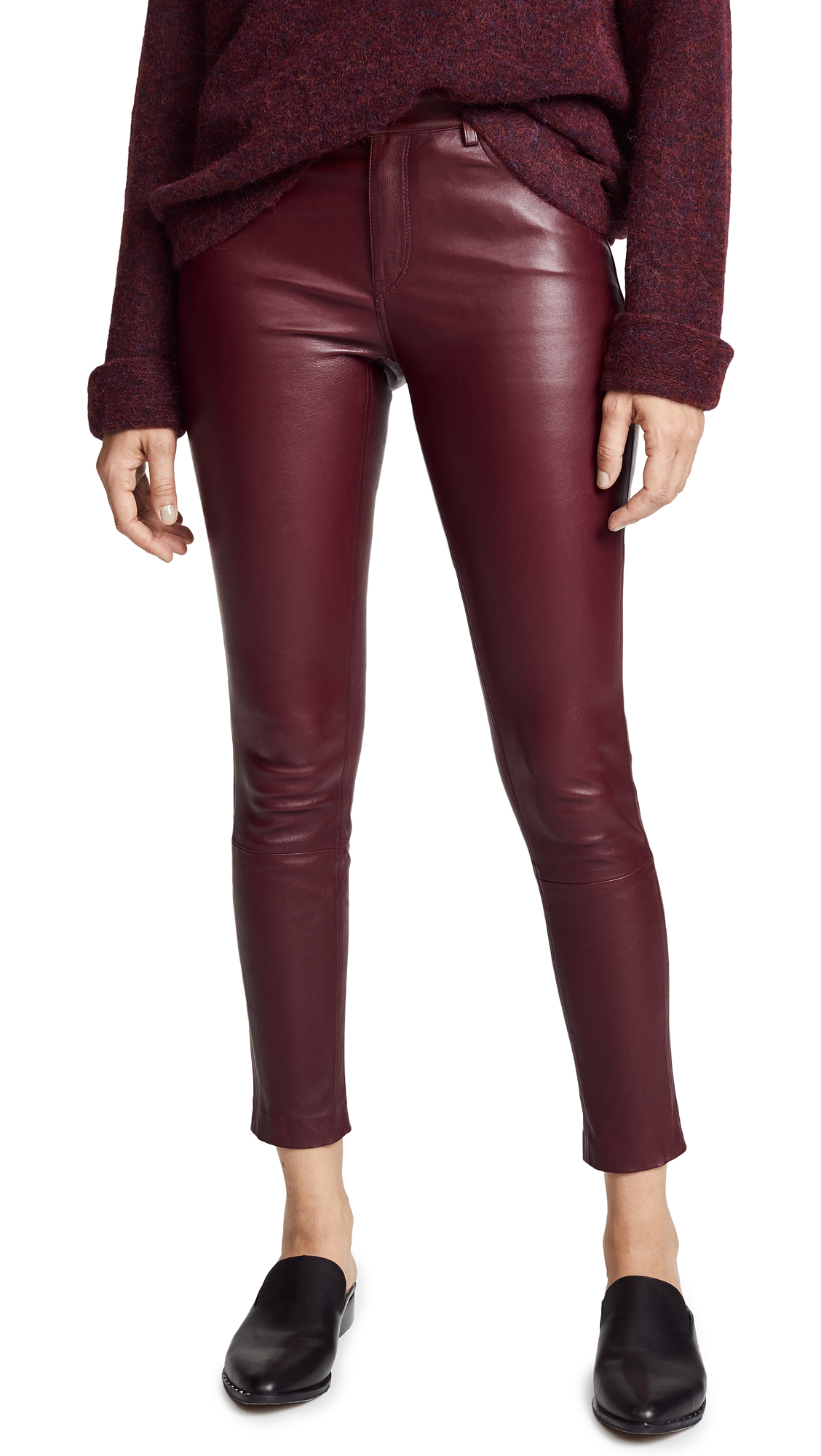 THEORY 5 POCKET LEATHER PANTS
