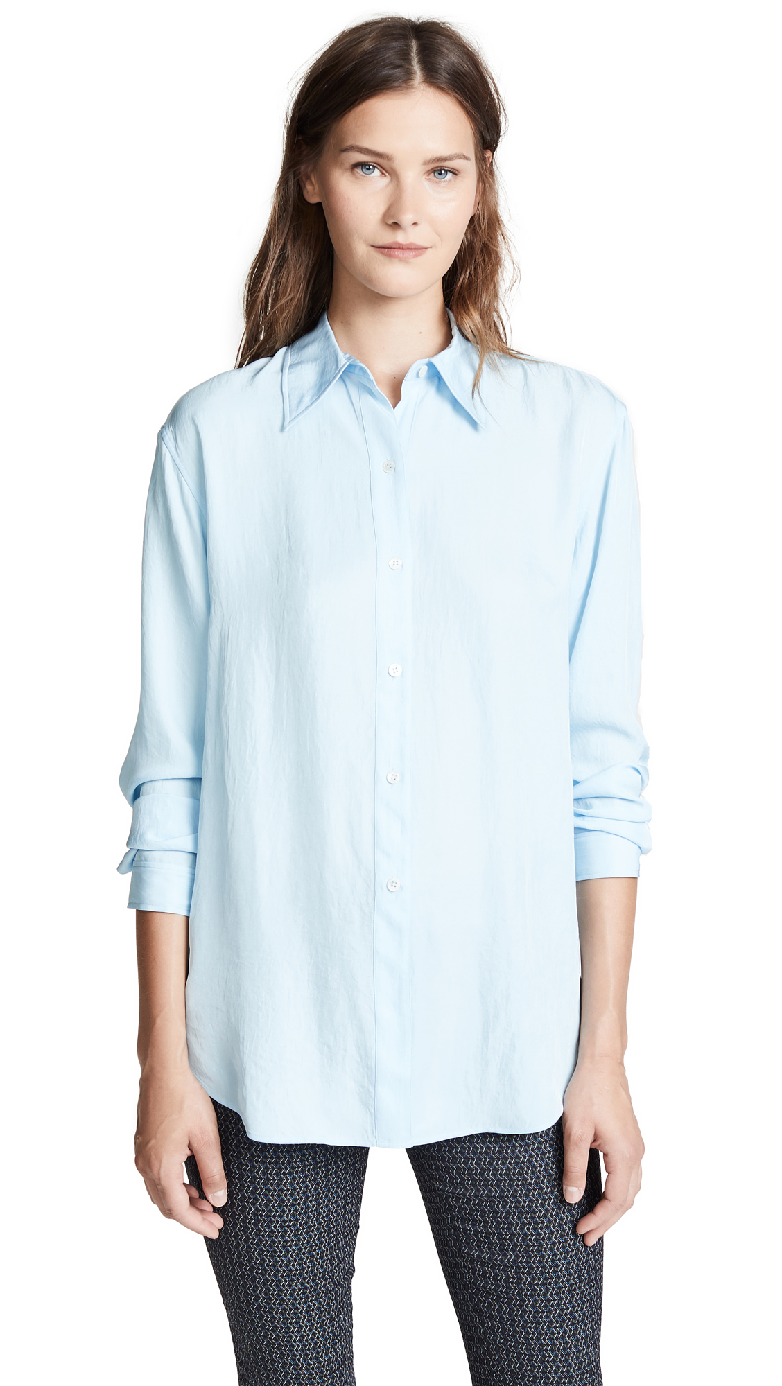 Theory Weekender Button Down Blouse - Pastel Blue