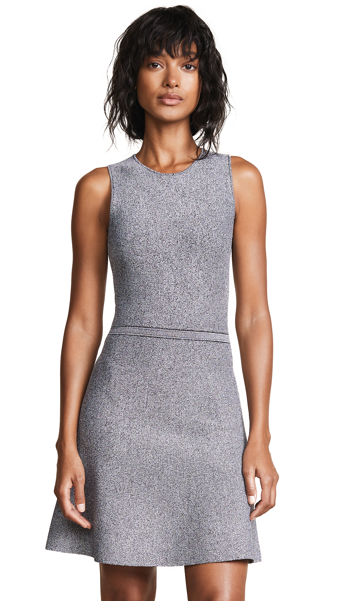 Theory Flare Knit Dress - Black/White