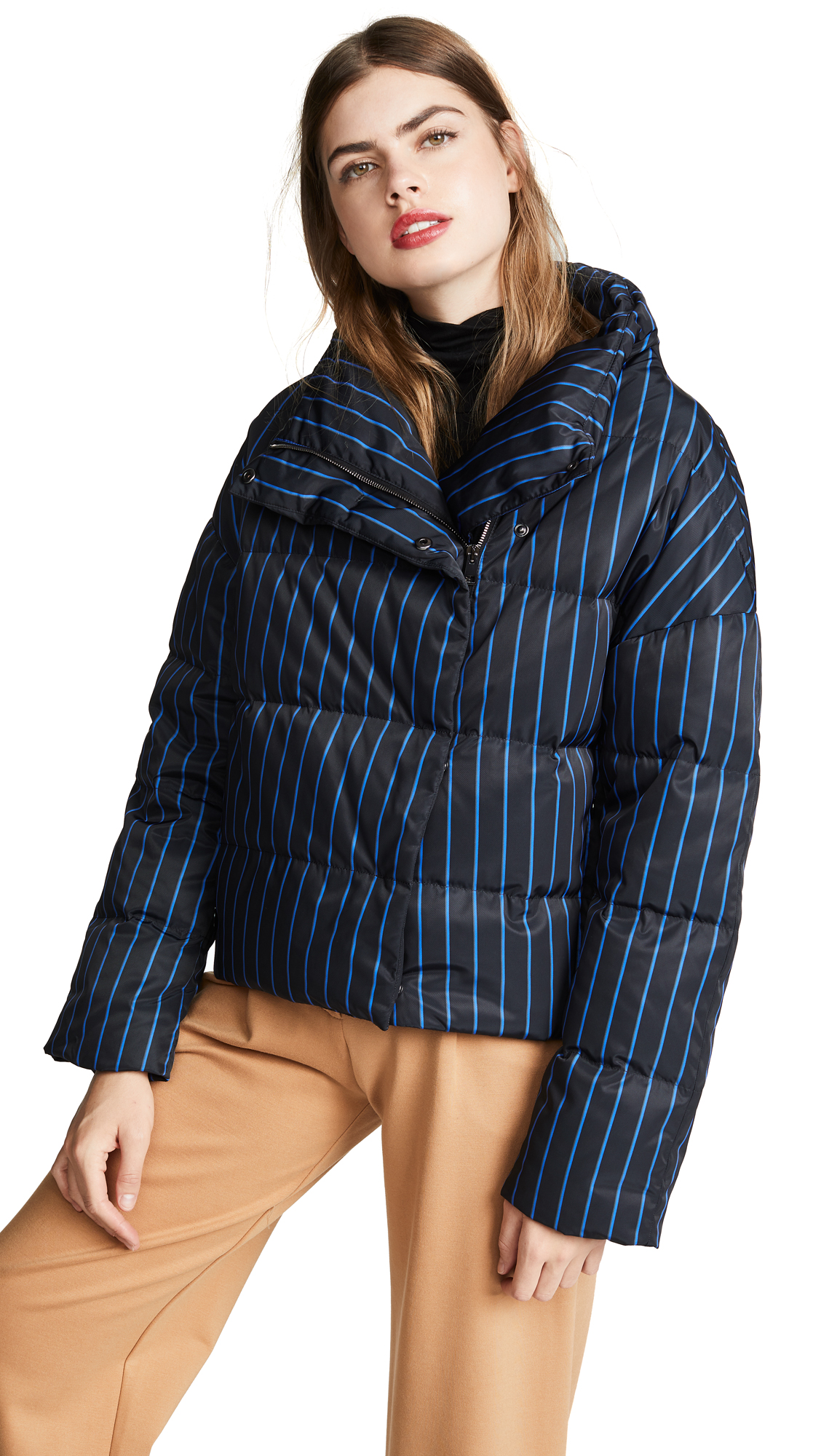 Theory Offset Puffer Coat In Black Multi