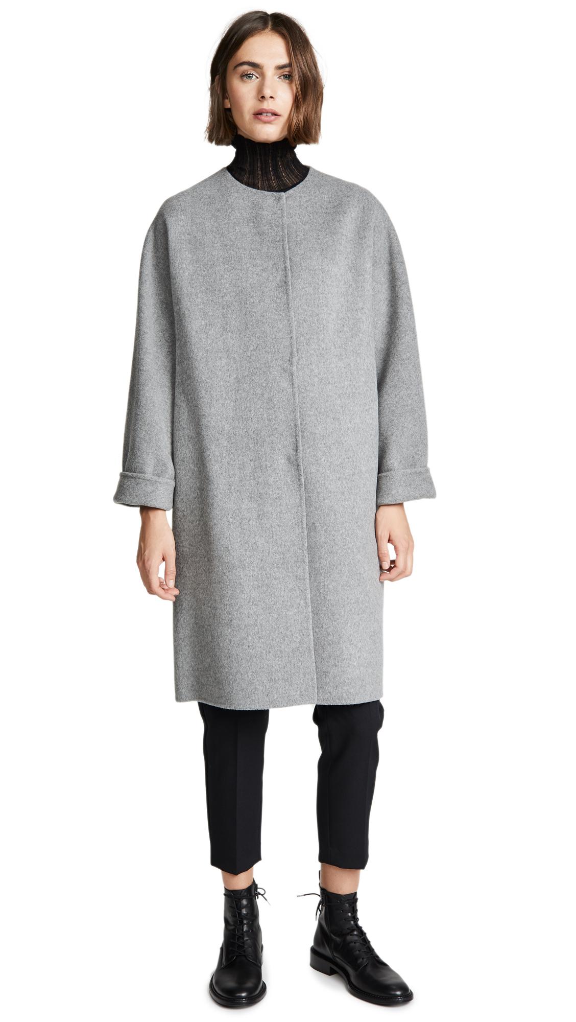 Theory Rounded Coat In Medium Grey Melange