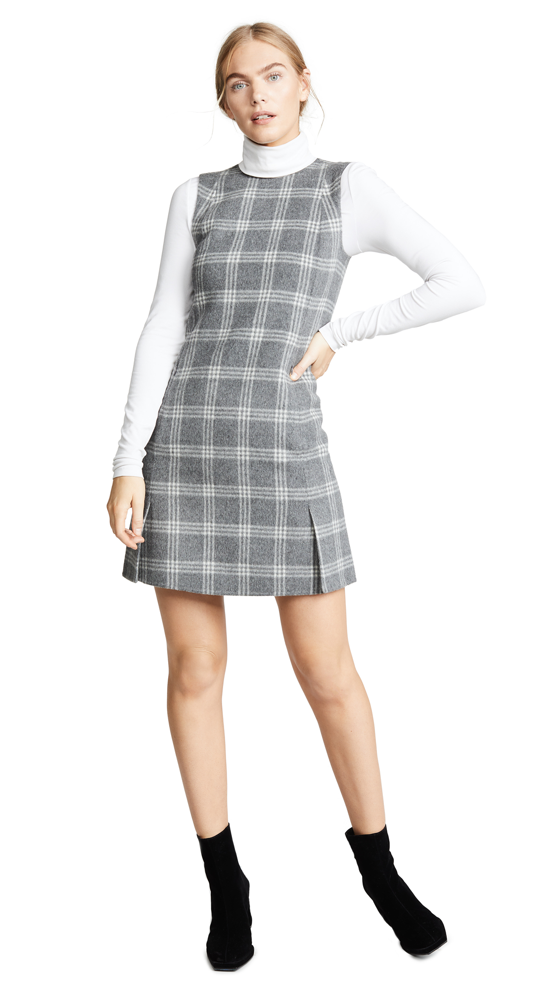 Theory Vent Front Shift Dress - Charcoal Melange