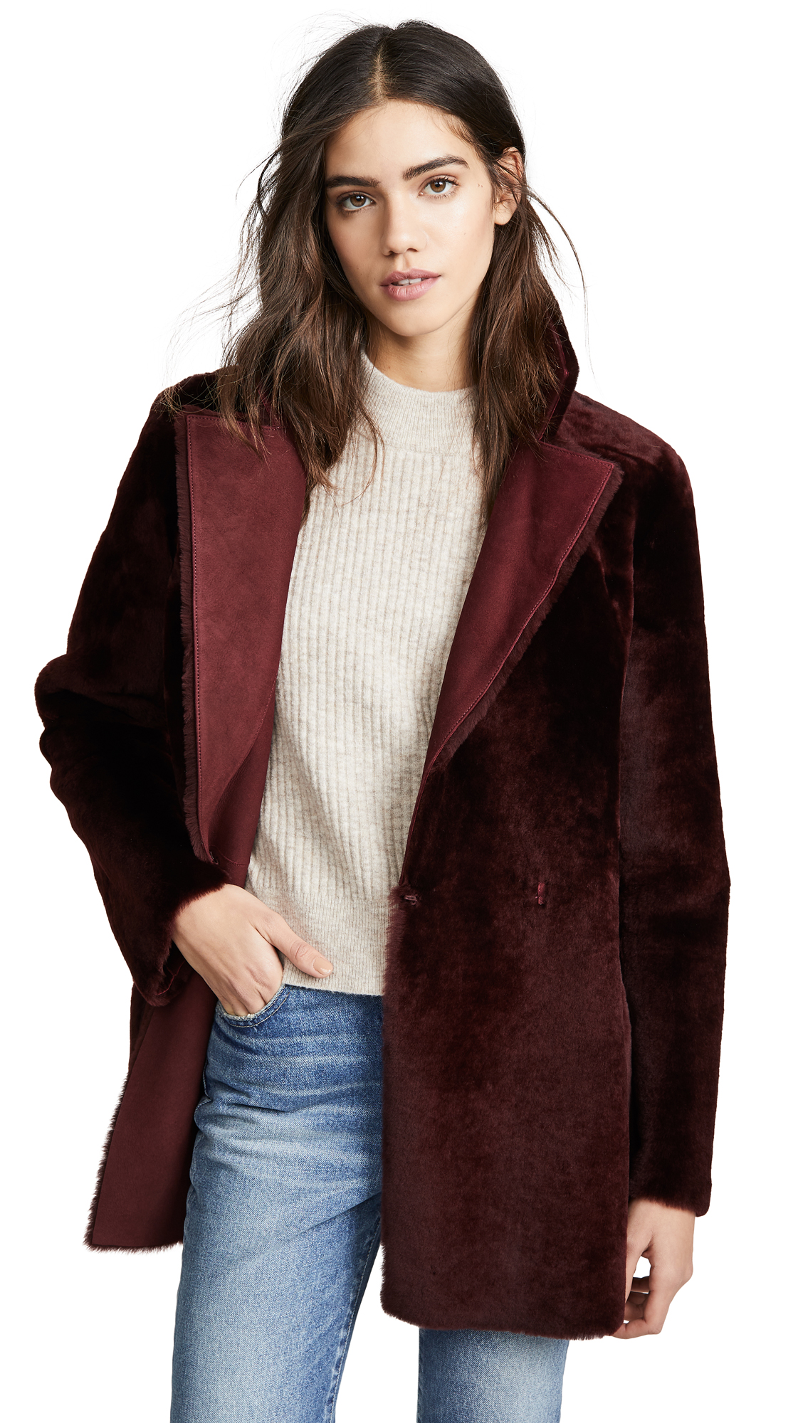 Theory Clairene Coat - Deep Mulberry