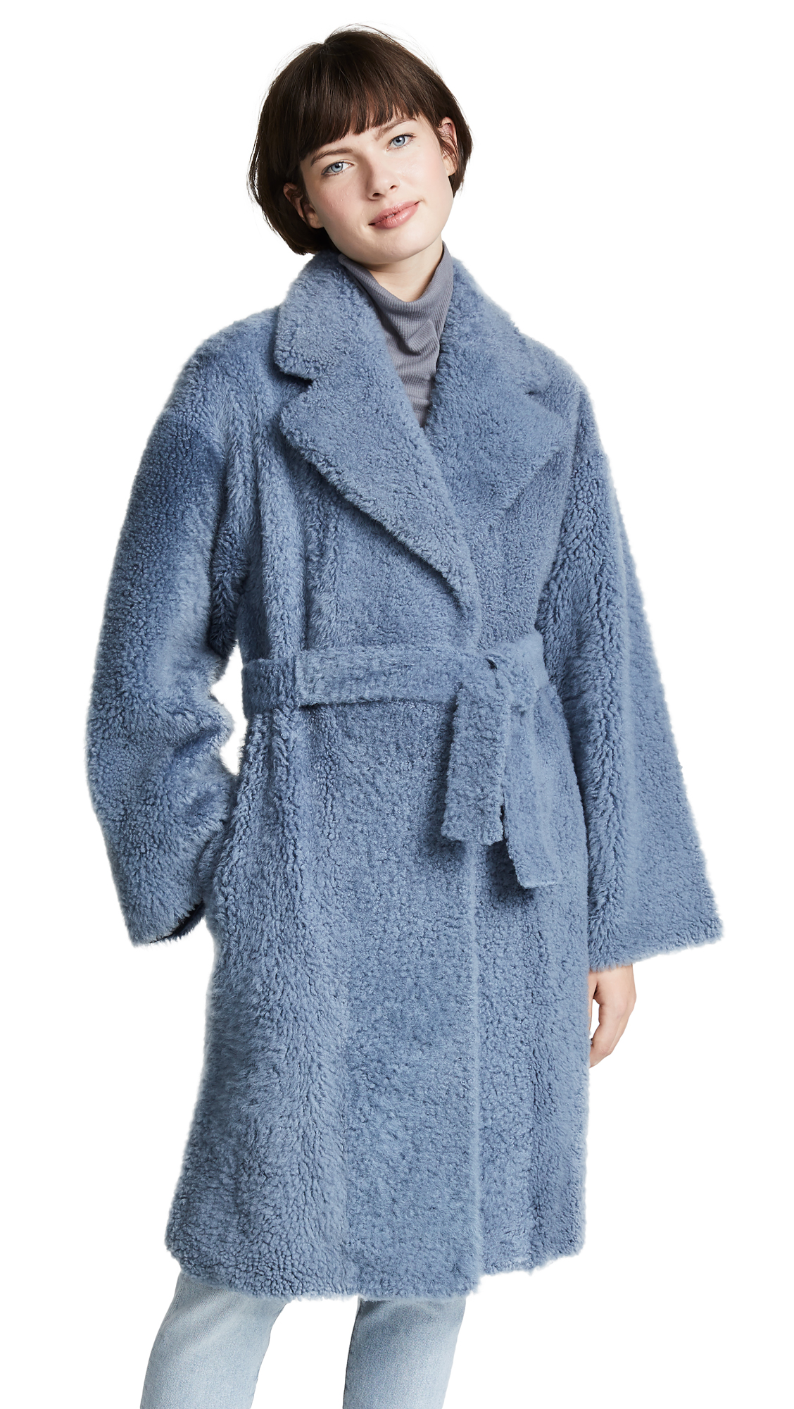 Theory Robe Coat - Metal Blue