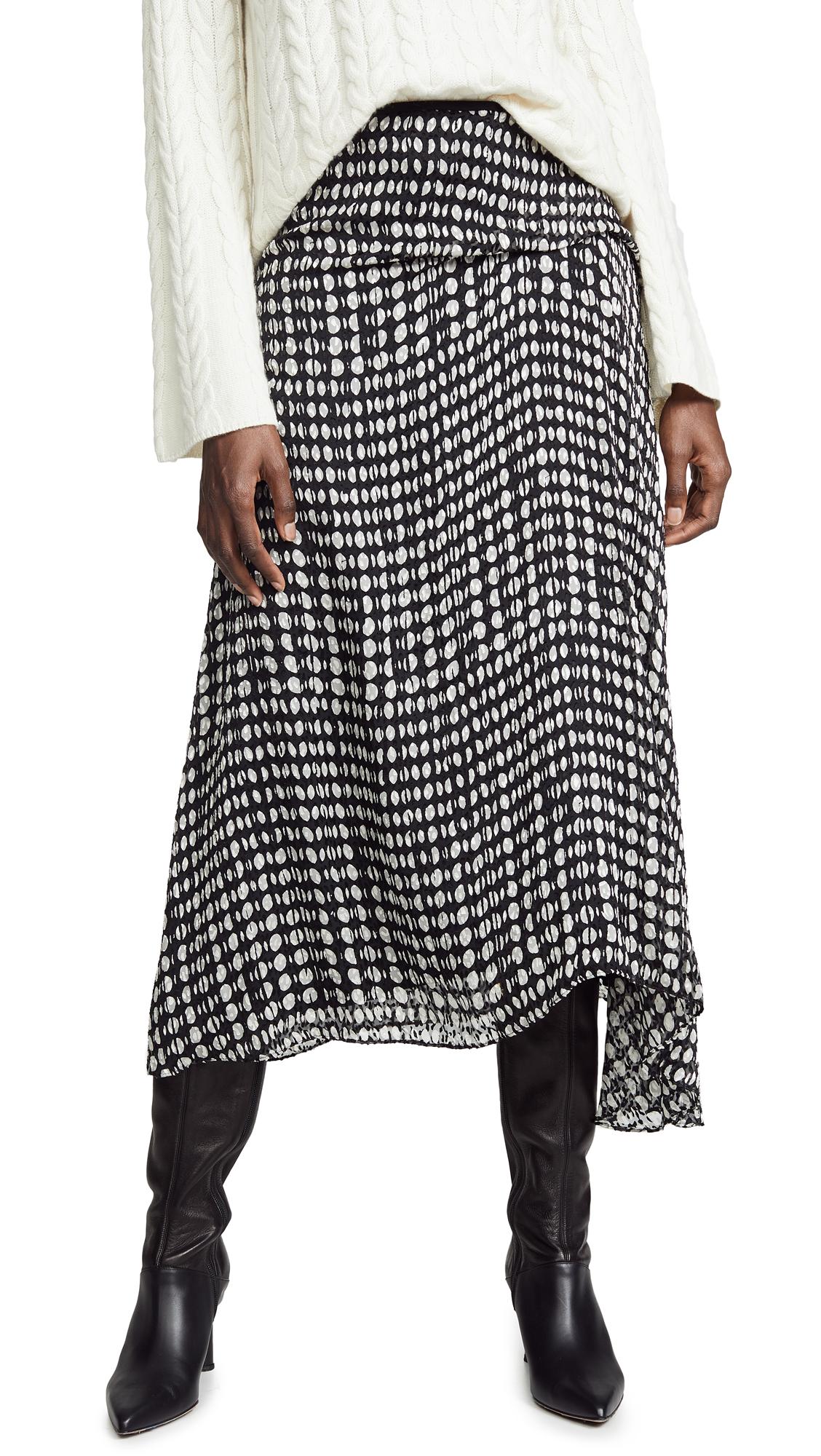 Theory Side Drape Midi Skirt - Black Multi