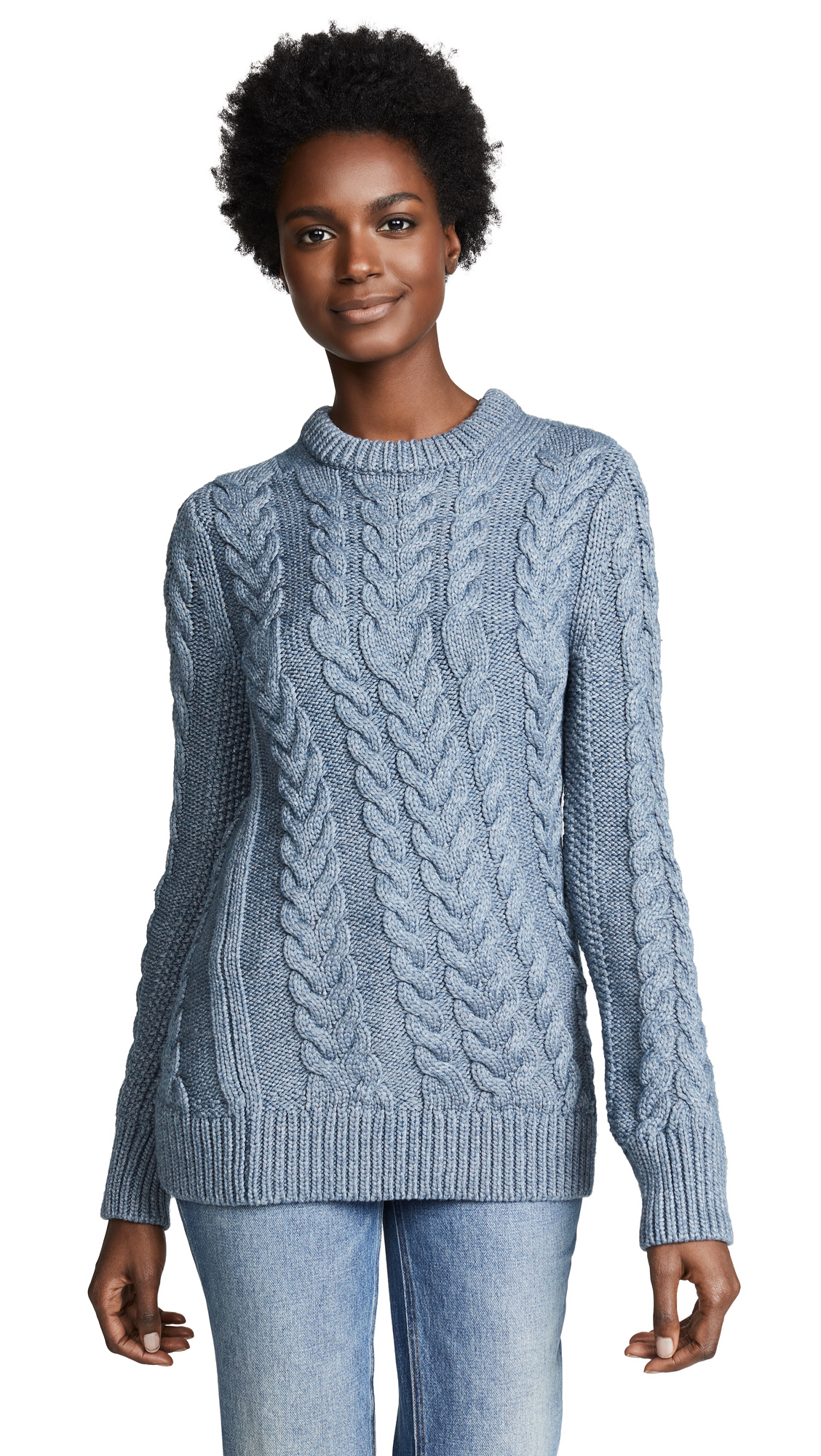 Theory Twisting Cable Sweater - Denim