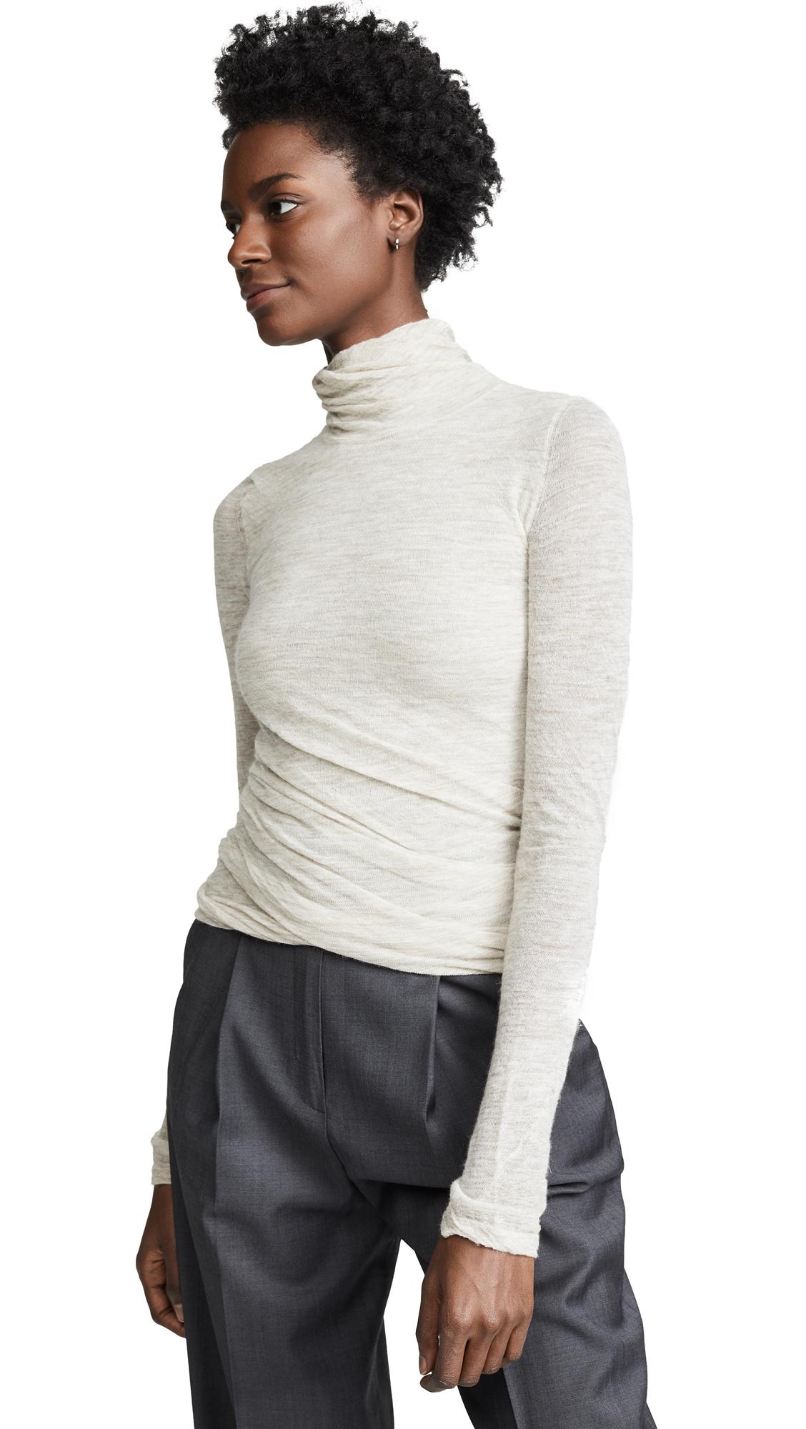 Theory Twist Turtleneck Sweater - Light Melange Brown