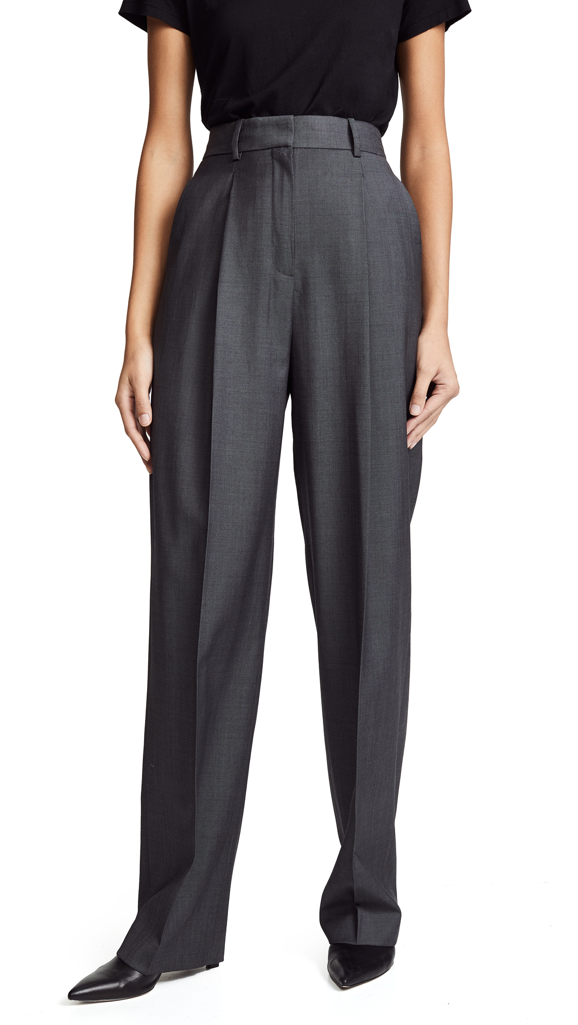 Theory Pleat Trousers - Boulder Grey