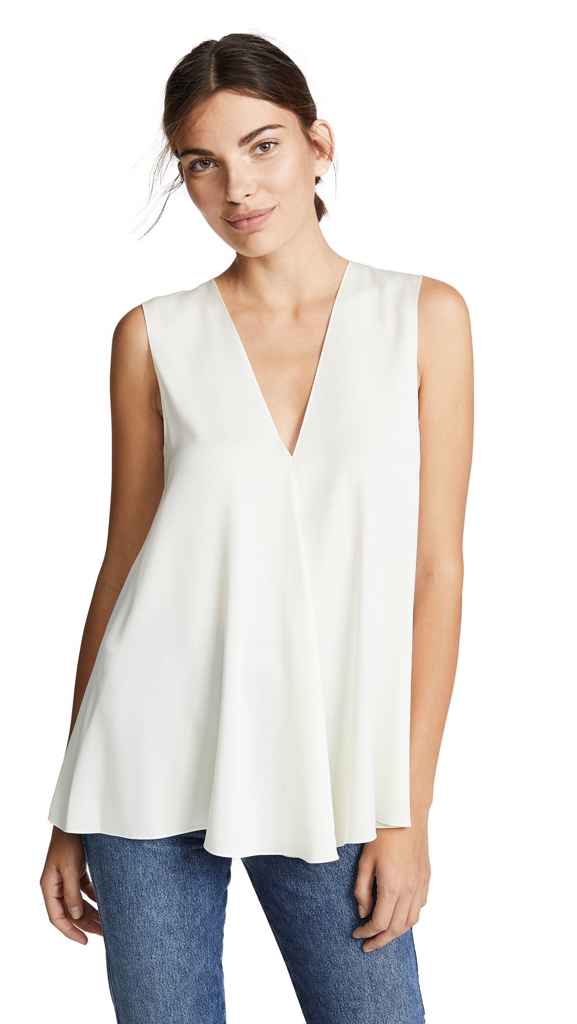Theory V Neck A-Line Top - Ivory