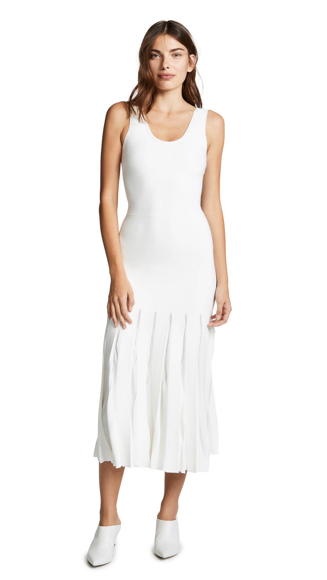 Theory Pleated Tank Dress - Eggshell/Ivory