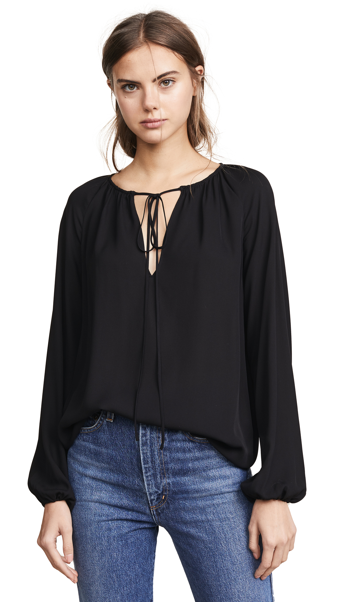Theory Gathered Long Sleeve Top - Black