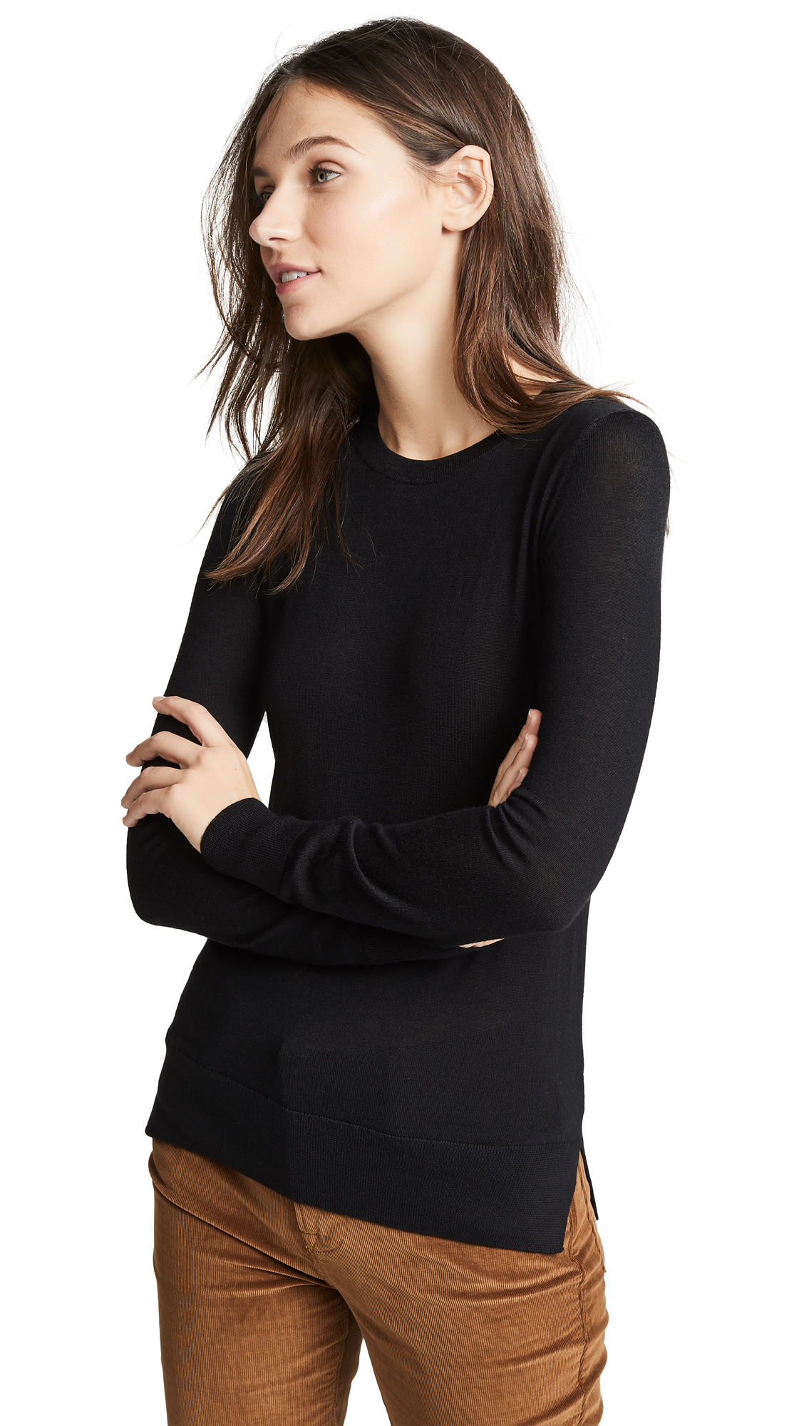 Theory Kralla Wool Long Sleeve Sweater In Black