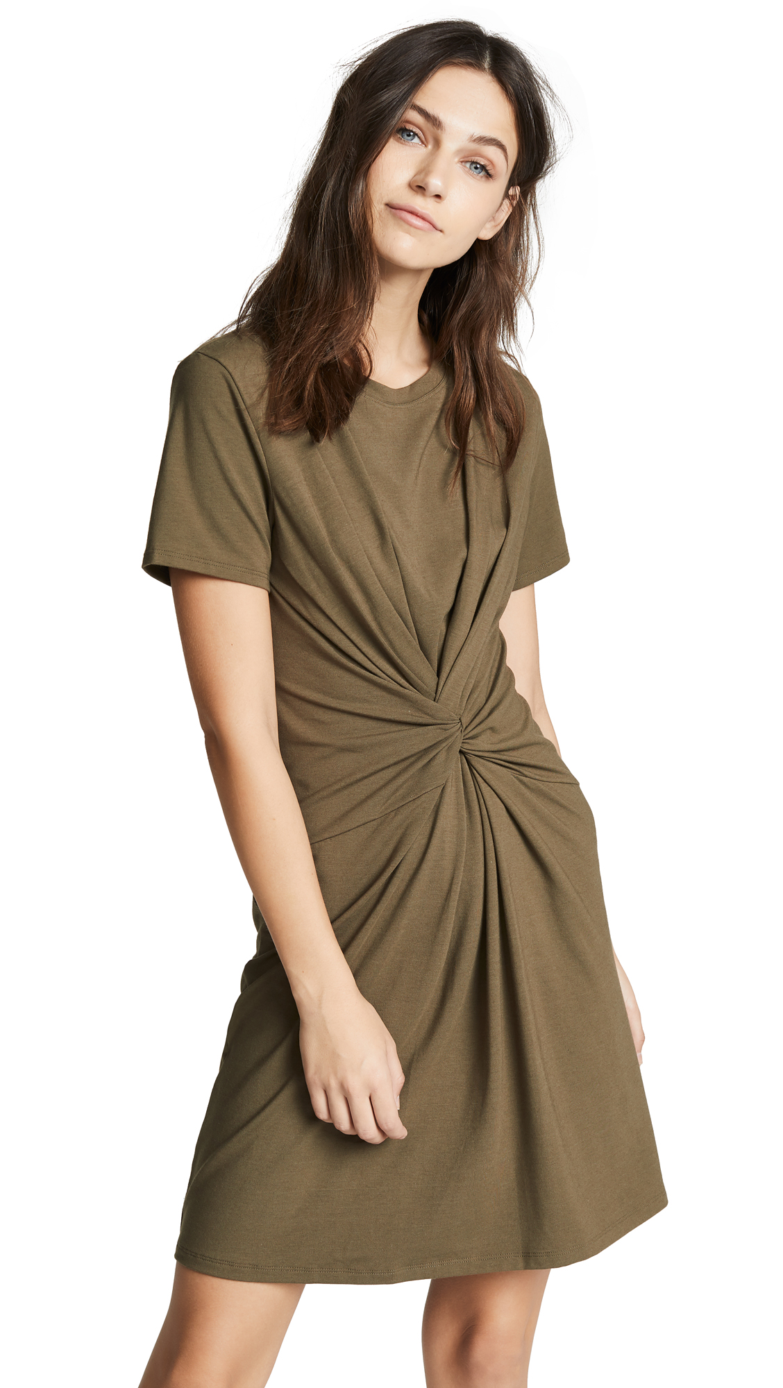 Theory Knot Tee Dress - Faded Army