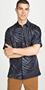 Theory Menlo Short Sleeve Palm Leaf Shirt
