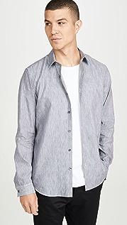 Theory Irving Long Sleeve Summer Linen Striped Shirt