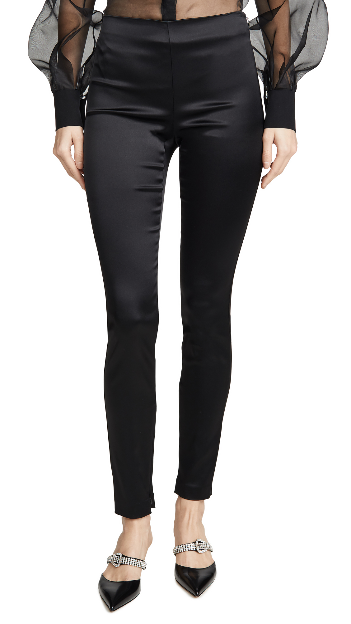 Theory Bristol Lambskin Leather Skinny-leg Ankle Leggings In Black