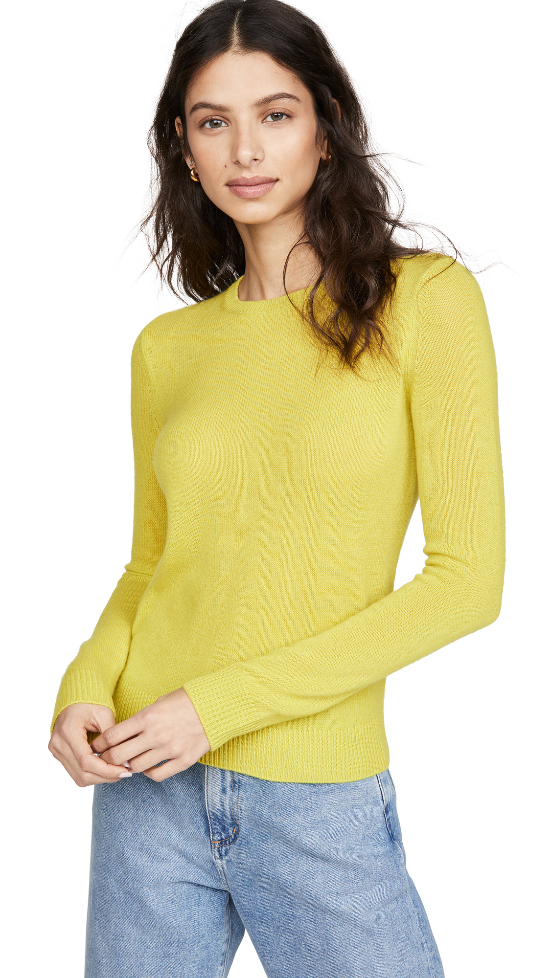 Theory Crew Neck Cashmere Pullover - Bright Lime