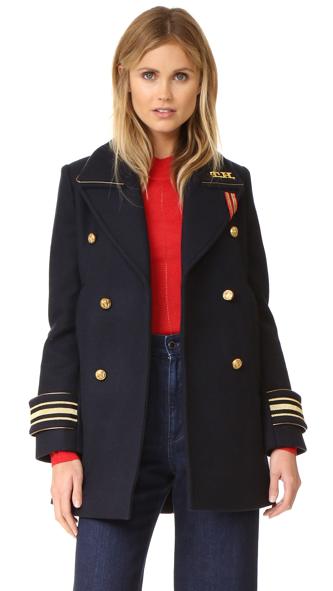 Hilfiger Collection Military Coat - Navy Blazer
