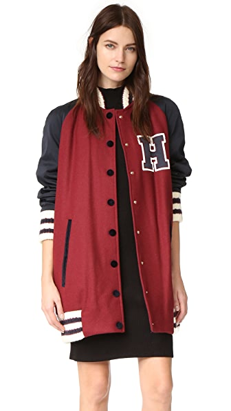 Hilfiger Collection Long Wool Varsity Jacket