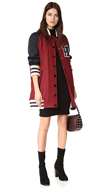 Hilfiger Collection Long Wool Varsity Jacket
