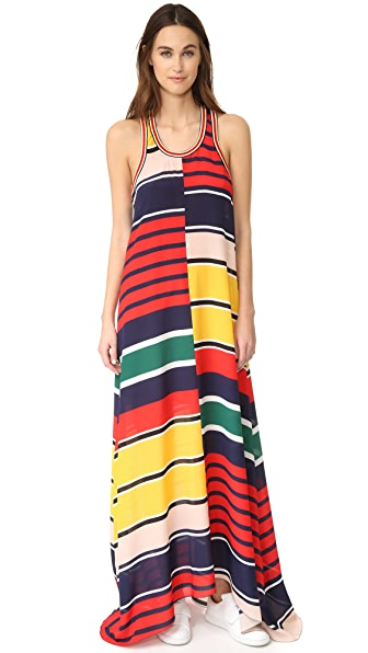 Hilfiger Collection Rugby Stripe Racer Back Maxi Dress In Navy Blazer/Multi