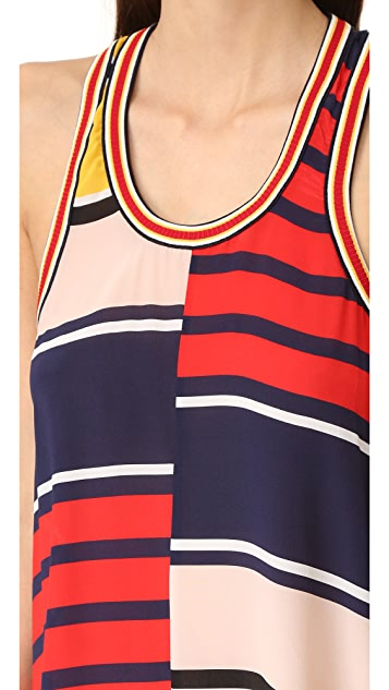 Hilfiger Collection Rugby Stripe Racer Back Maxi Dress