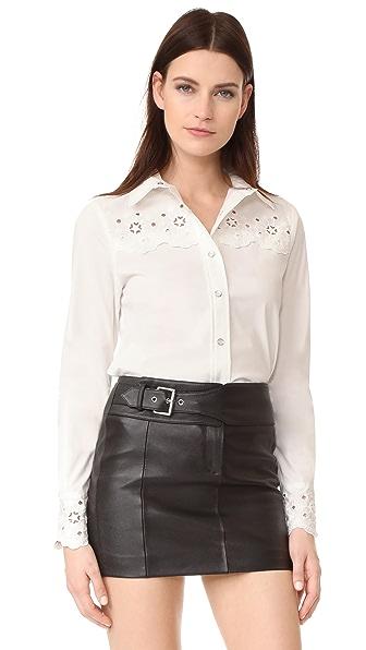 Hilfiger Collection Eyelet Long Sleeve Shirt - Marshmallow