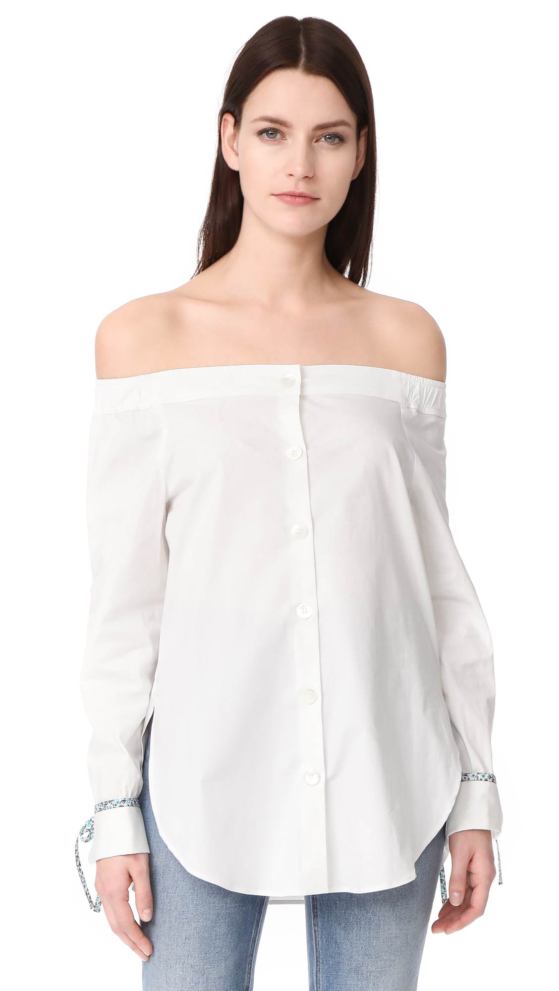 Hilfiger Collection Off Shoulder Long Sleeve Shirt - Marshmallow/Multi