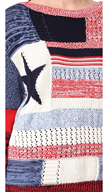Hilfiger Collection American Flag Patchwork Sweater
