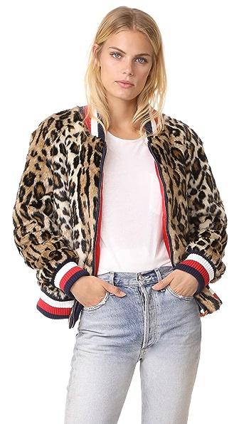 Hilfiger Collection Leopard Faux Fur Short Jacket In Brown Sugar