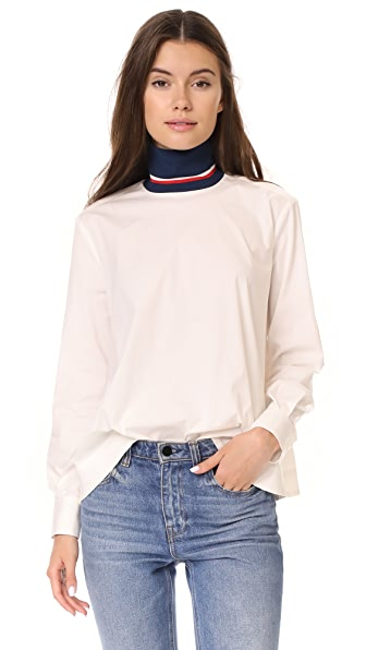 Hilfiger Collection Corp High Neck Shirt In Snow White
