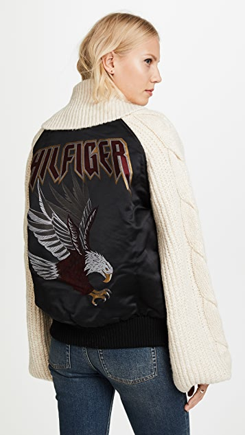 Hilfiger Collection Knitted Sleeve Bomber Jacket