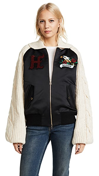 Hilfiger Collection Knitted Sleeve Bomber Jacket In Meteorite/Multi