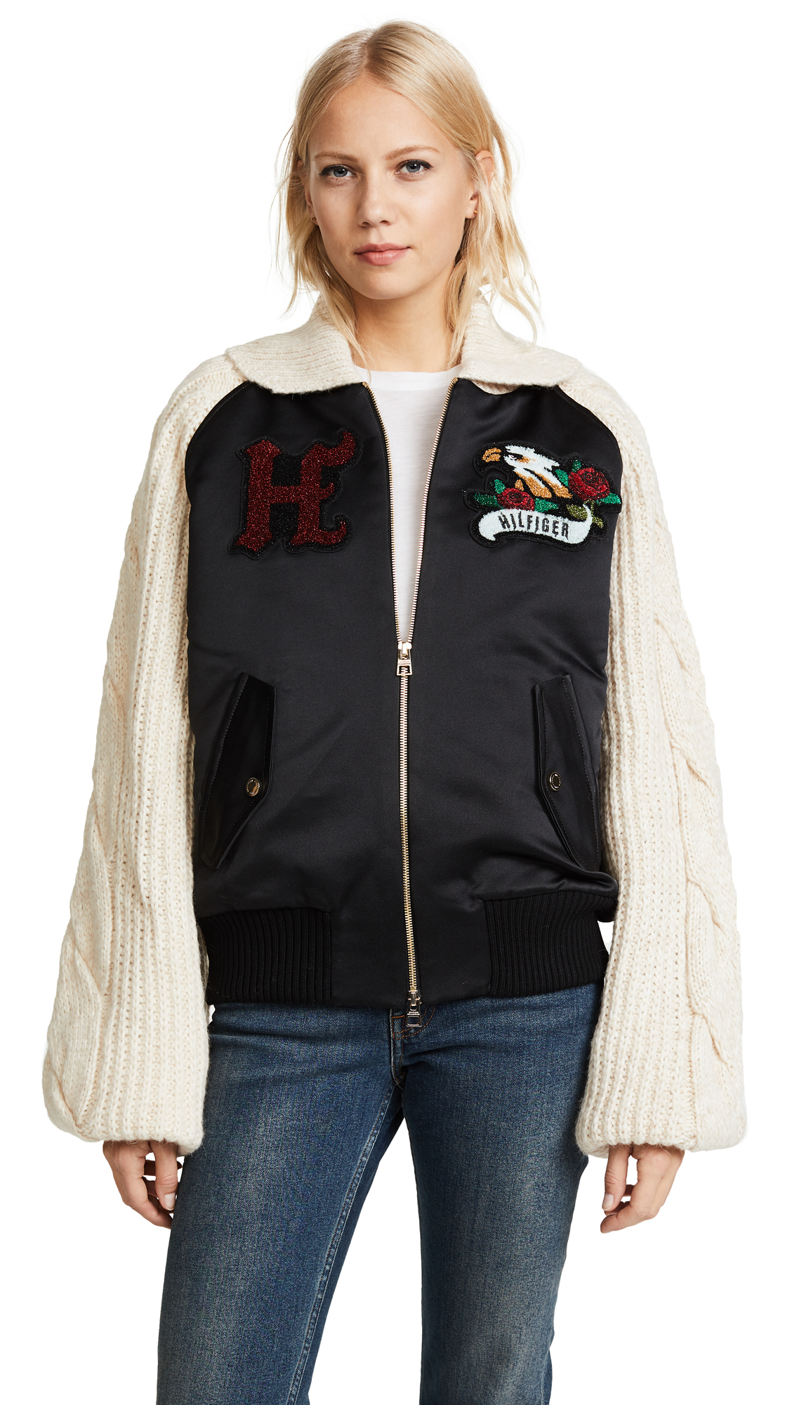 Hilfiger Collection Knitted Sleeve Bomber Jacket - Meteorite/Multi