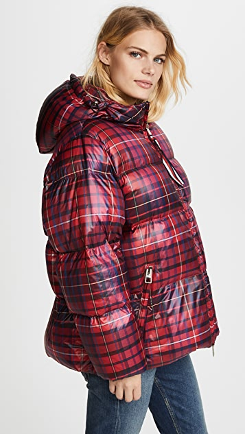Hilfiger Collection Tartan Short Down Coat