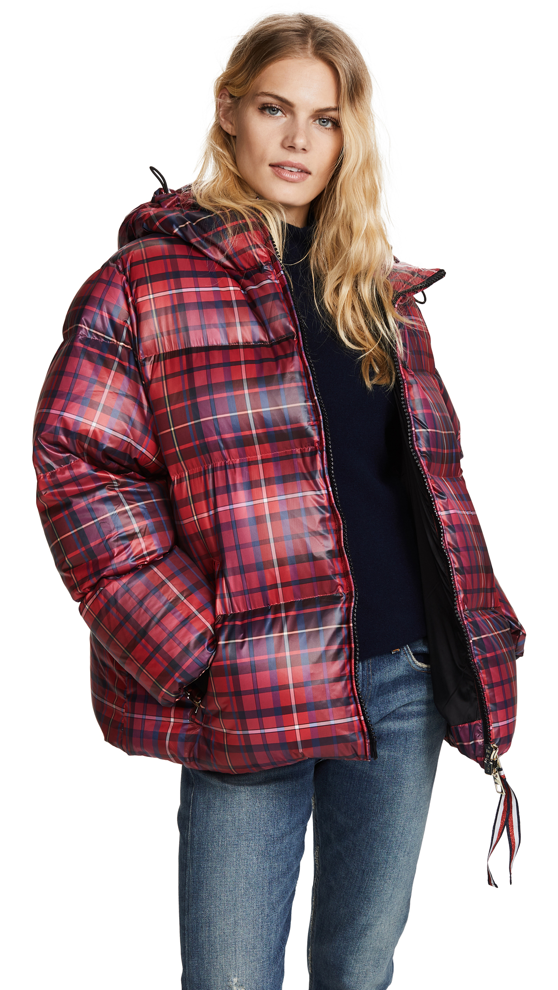 Hilfiger Collection Tartan Short Down Coat - True Red/Multi
