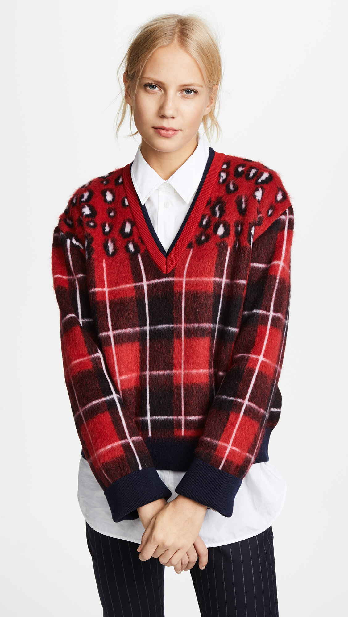 Hilfiger Collection Tartan V Neck Sweater - Peacoat/Multi