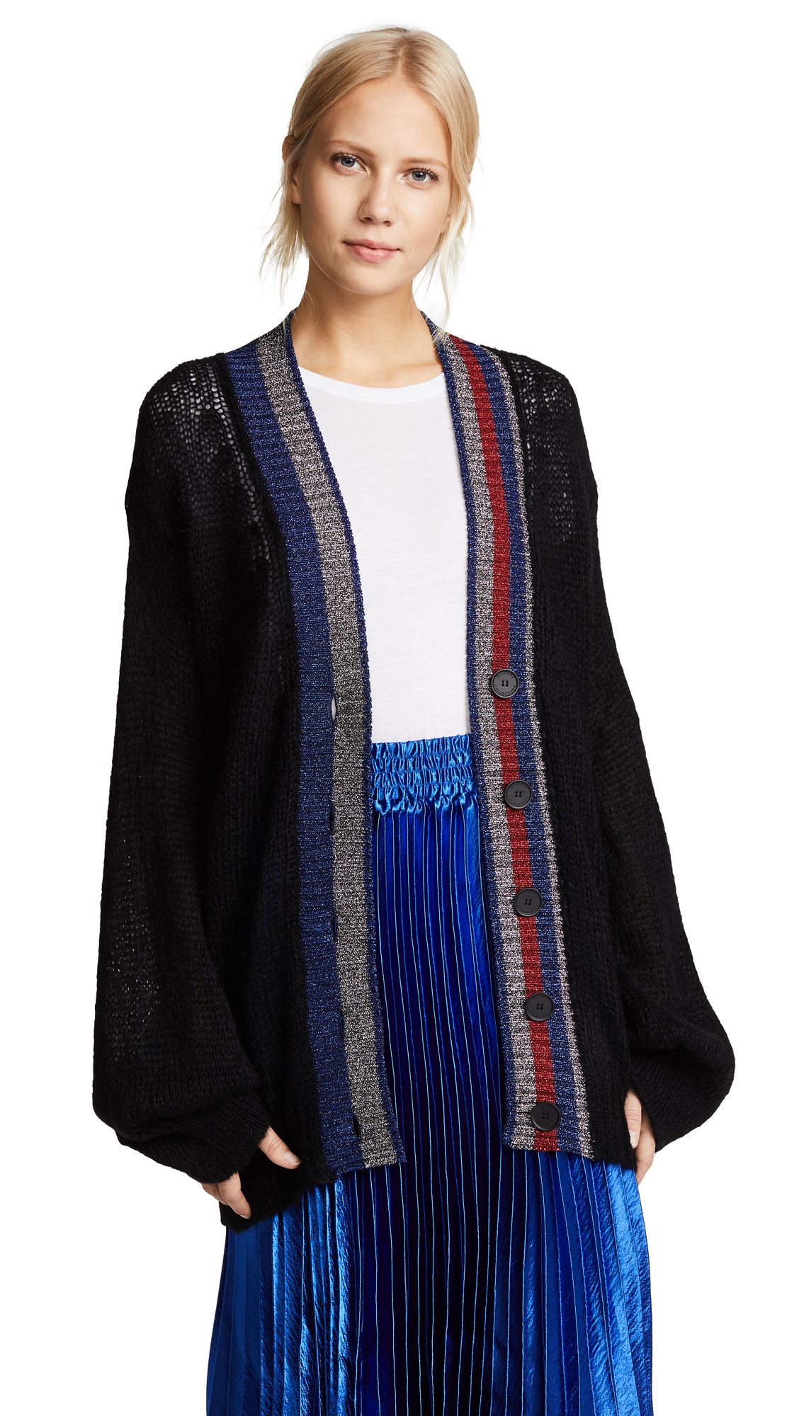 Hilfiger Collection Mohair & Metallic Cardigan - Meteorite
