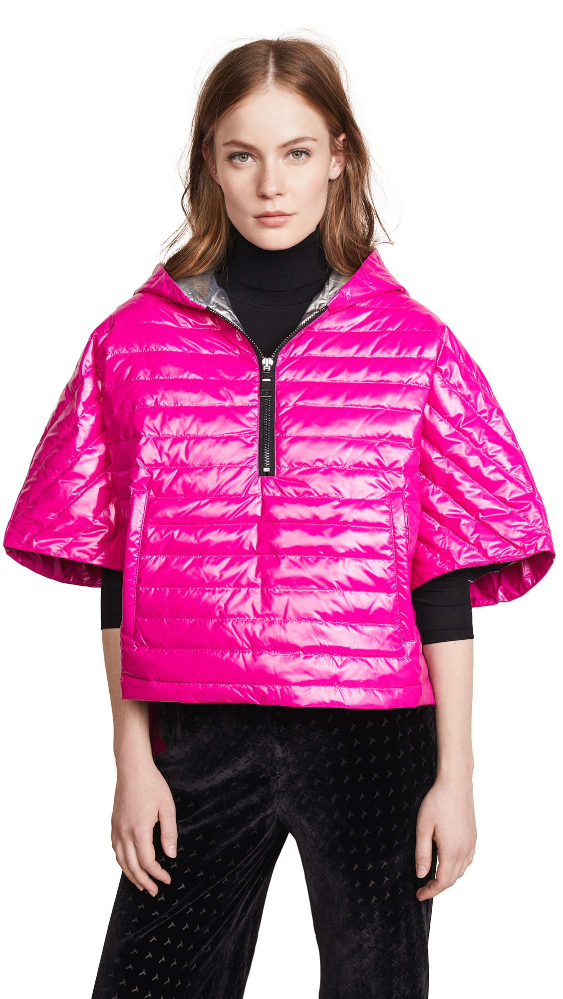 Think Royln Cropped Hi-Low Poncho In Fuchsia/Silver