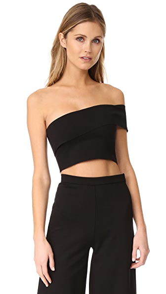 The Hours One Shoulder Crop Top - Black
